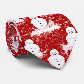 Gravata Cor branca e vermelha de Snowmans de sorriso