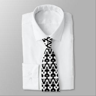 Gravata Cor damasco de Ikat do marroquino, preto e branco