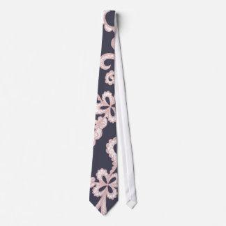 Gravata Cora o laço floral branco cor-de-rosa em azuis