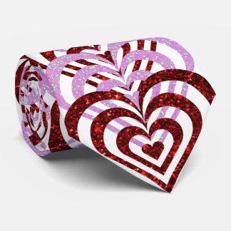 Gravata Corações vermelhos & cor-de-rosa do rubi do brilho
