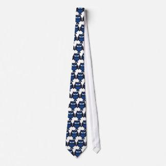 Gravata Coruja azul branca do laço