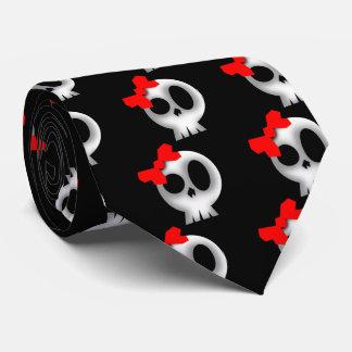 Gravata Crânio bonito com arco vermelho