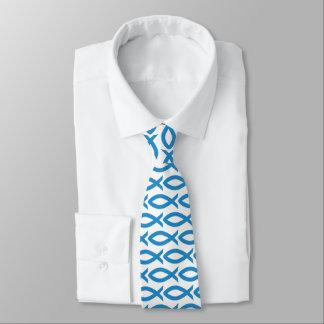 Gravata cristã azul e branca do símbolo dos peixes