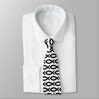 Gravata cristã preto e branco do símbolo dos