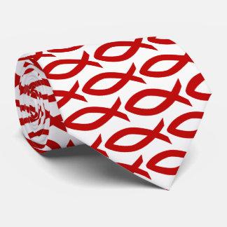 Gravata cristã vermelha e branca do símbolo dos