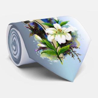 Gravata Cruz dourada da páscoa e flores brancas de Lilly
