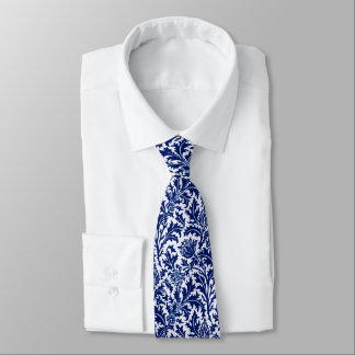Gravata Damasco, azuis cobaltos & branco do cardo de