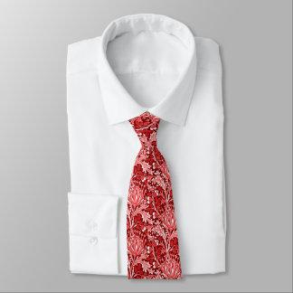 Gravata Damasco de William Morris, obscuridade - vermelho