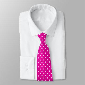 Gravata das bolinhas do rosa quente e do branco