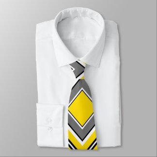 Gravata Diamante cinzento amarelo geométrico