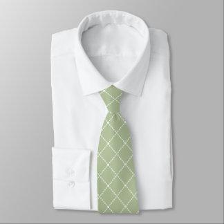 Gravata Diamante da verde azeitona e do branco dado forma