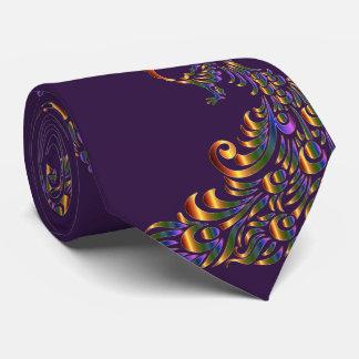 Gravata do verde do ouro do impressão do pavão