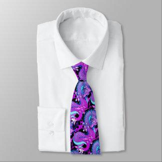 Gravata Dragão roxo do respingo de Miami em cores