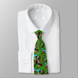 Gravata Dragão verde com flores de cerejeira