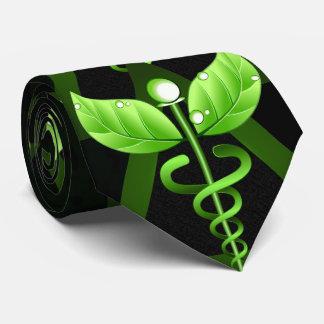 Gravata Emblema médico verde da medicina alternativa do