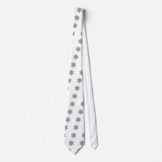 Gravata Estrela de David preto e branco do vintage - Magen