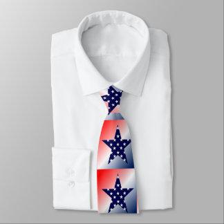 Gravata Estrela vermelha, branca, azul