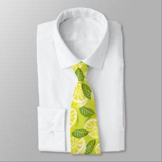 Gravata Fatias e folhas amarelas do limão do verão no