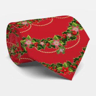 Gravata Festões bonitos do Natal com poinsétias e azevinho