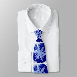 Gravata Floco de neve azul - aguarela