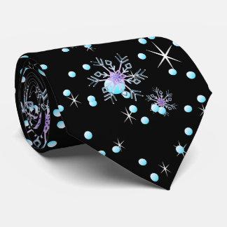 "Gravata Floco de neve preto moderno ""Feliz Natal """