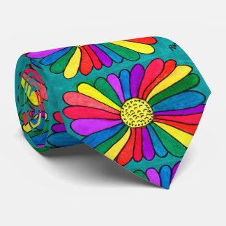Gravata Flor brilhante do arco-íris da aguarela do hipster