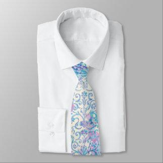 Gravata Floral azul do primavera do damasco