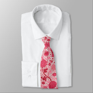 Gravata Floral Jacobean de William Morris, rosa do coral