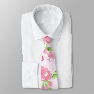 Gravata Flores bonitas do pêssego da aguarela do rosa do
