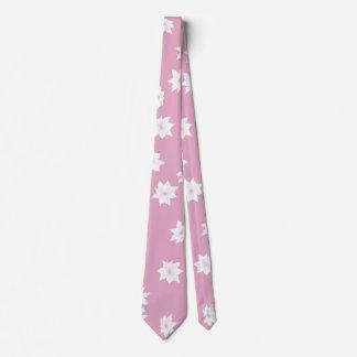 Gravata Flores cor-de-rosa e brancas
