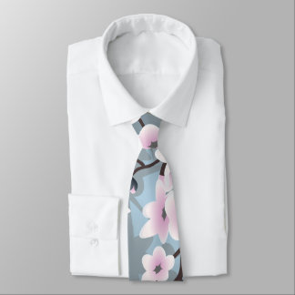 Gravata Flores de cerejeira cintilantes azuis cor-de-rosa