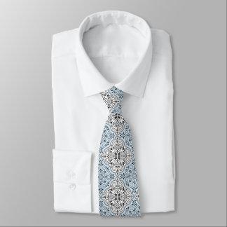 Gravata Flourish Rococo azul do teste padrão