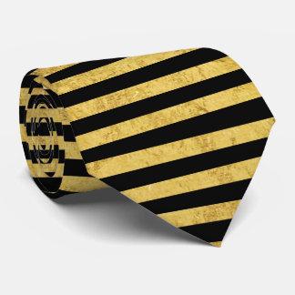 Gravata Folha de ouro elegante e teste padrão preto da