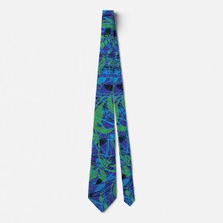 Gravata Folhas azuis e verdes modernas