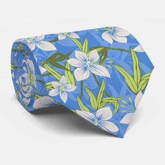 Gravata Frente e verso floral tropical havaiano de Anaina