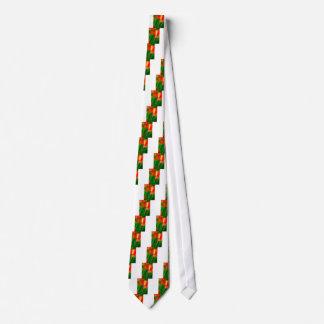 Gravata Fulgor verde, vermelho e amarelo da tulipa