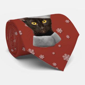 Gravata Gato engraçado do papai noel do preto do Natal