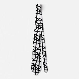 Gravata Geométrico abstrato preto e branco