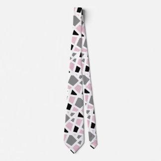 Gravata Geométrico branco preto cinzento cor-de-rosa