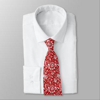 Gravata Girassóis de William Morris, vermelho escuro e
