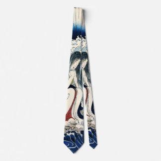 Gravata Hatsuhana sob a multa de Kuniyoshi da cachoeira de