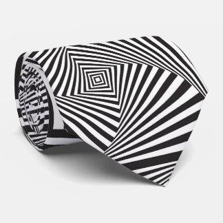 Gravata Ilusão óptica espiral branca preta bonita
