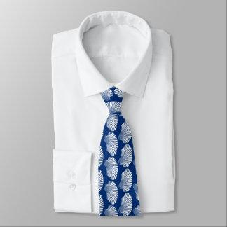 Gravata Impressão, azuis marinhos e branco de bloco de