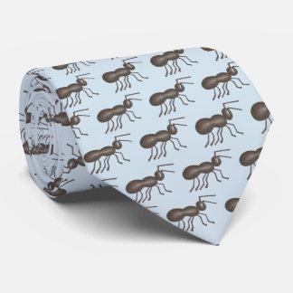 Gravata Impressão azul de marcha do inseto do preto da
