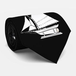 Gravata impressão da silhueta do veleiro