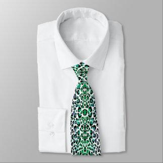 Gravata Impressão verde do leopardo da cerceta