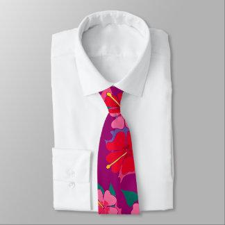 Gravata Laço alto da arte da flor do hibiscus na ameixa