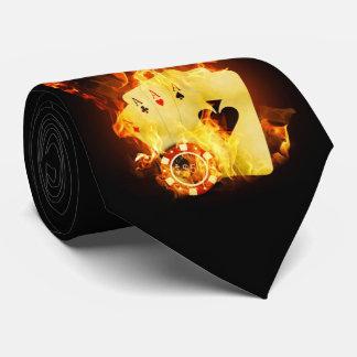 Gravata Laço ardente dos cartões do póquer