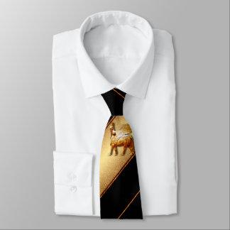 Gravata Laço Assyrian 1 do ouro do preto n do lamassu
