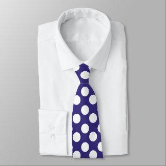 Gravata Laço azul e branco da meia-noite das bolinhas